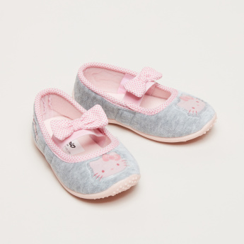 Hello Kitty Printed and Textured Ballerina Shoes