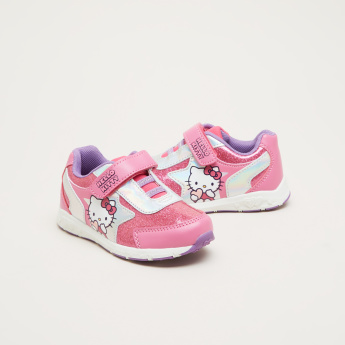 Hello Kitty Printed Sneakers with Hook and Loop Closure