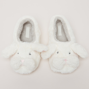 Slip-On Bedroom Shoes with Applique and Plush Detail