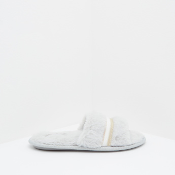 Fur Detailed Slippers with Slip-On Closure