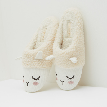 Embroidered Bedroom Slippers with Applique Detail
