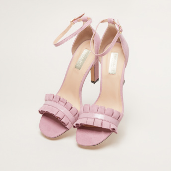 Ruffle Detail High Heel Sandals with Pin Bucke Closure