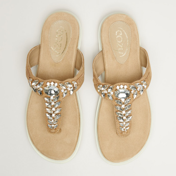 Cozy Embellished Slip-On Sandals