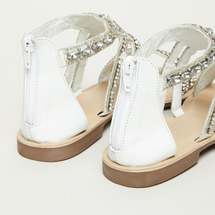 Celeste Embellished Sandals with Ankle Strap and Zip Closure