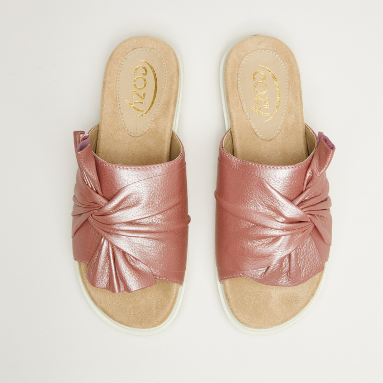 Slide Sandals with Knot Detail