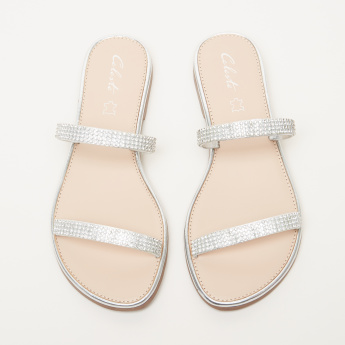 Celeste Studded Slides with Dual Straps