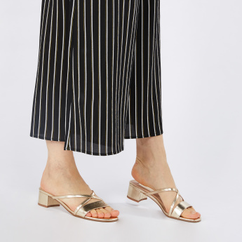 Multi-Strap Slip-On Sandals with Block Heels