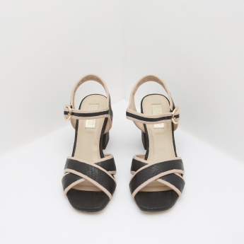 Textured Block Heeled Sandals with Buckle Closure