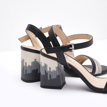 Ankle Strap Sandals with Printed Block Heels and Pin Buckle Closure