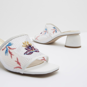 Embroidered Mesh Detail Sandals with Block Heels