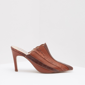 ELLE Striped Pointed Toe Mules