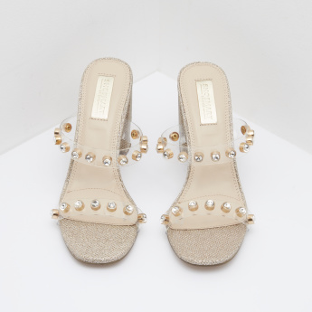 Embellished Block Heel Sandals with Slip-On Closure
