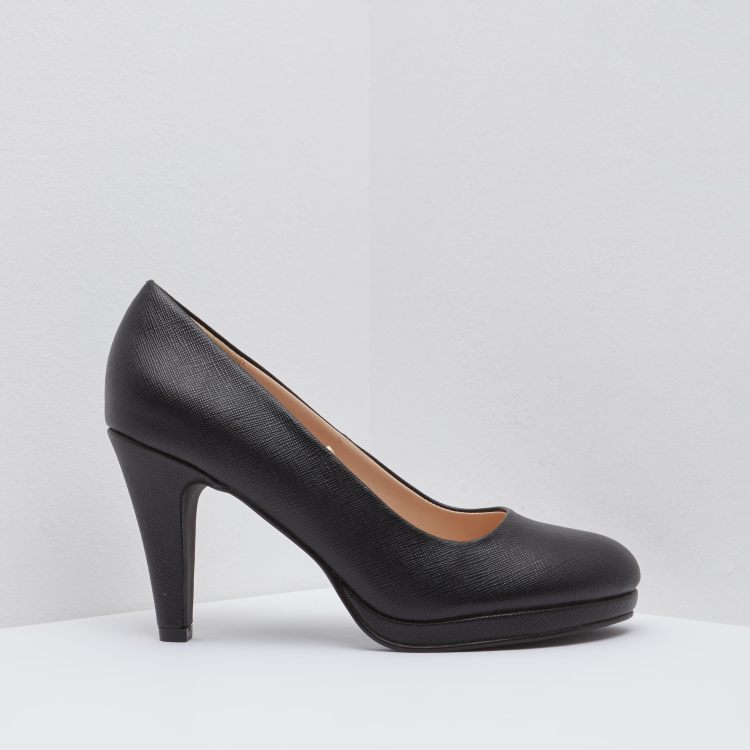 Textured Round Toe Cone Heels with Slip-On Closure