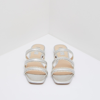Metallic Slides with Pearl Detail Straps