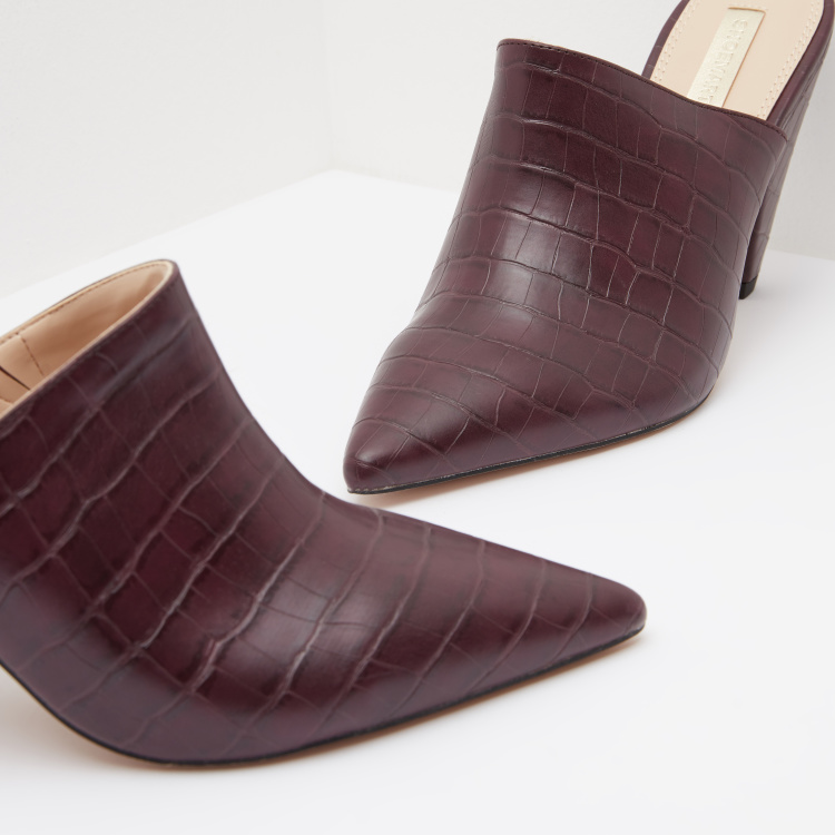 Textured Cone Heeled Mules