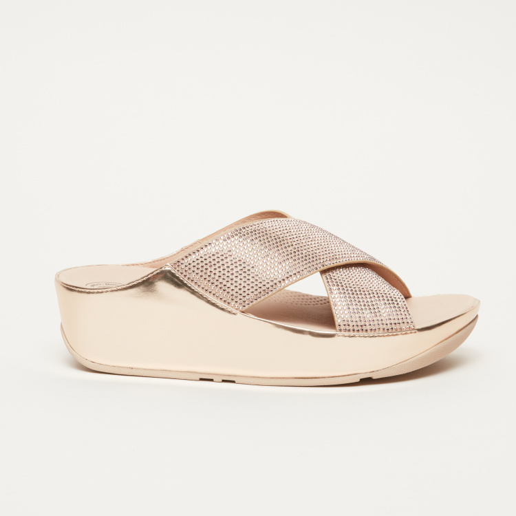 FitFlop Slides with Embellished Crossed Straps