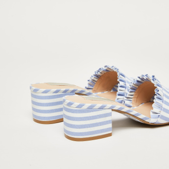 Striped Sandals with Block Heels