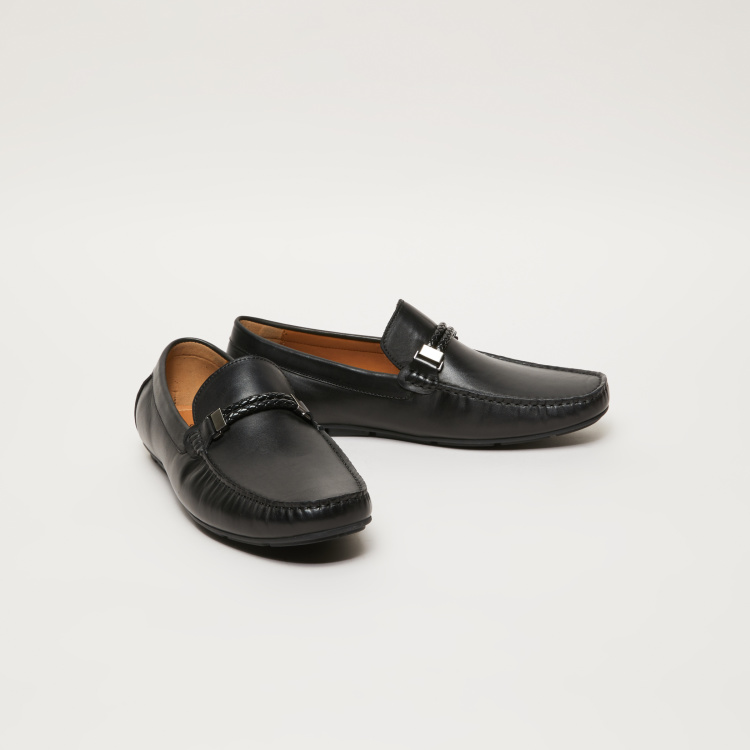 Slip-On Moccasins with Braid and Buckle Detail