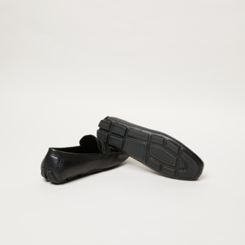 Slip-On Moccasins with Buckle and Stitch Detail