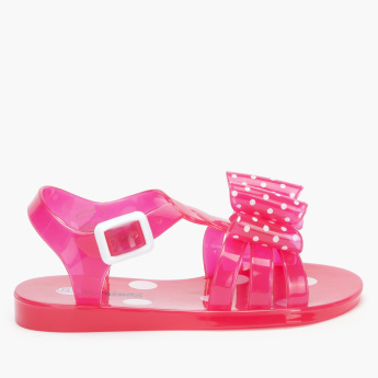 Juniors Bow Detail Sandals with Ankle Strap and Buckle Closure