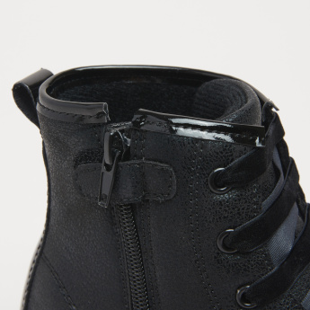 High Top Shoes with Patchwork and Zip Closure