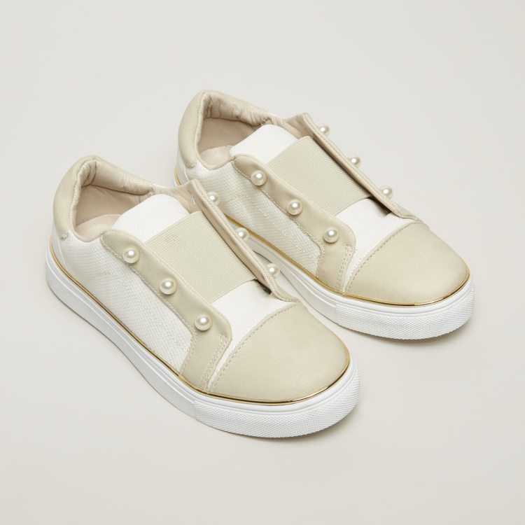 Little Missy Slip-On Shoes with Pearl Detail and Elasticised Gussets