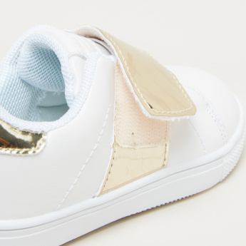 Juniors Stitch Detail Slip-On Shoes with Hook and Loop Closure