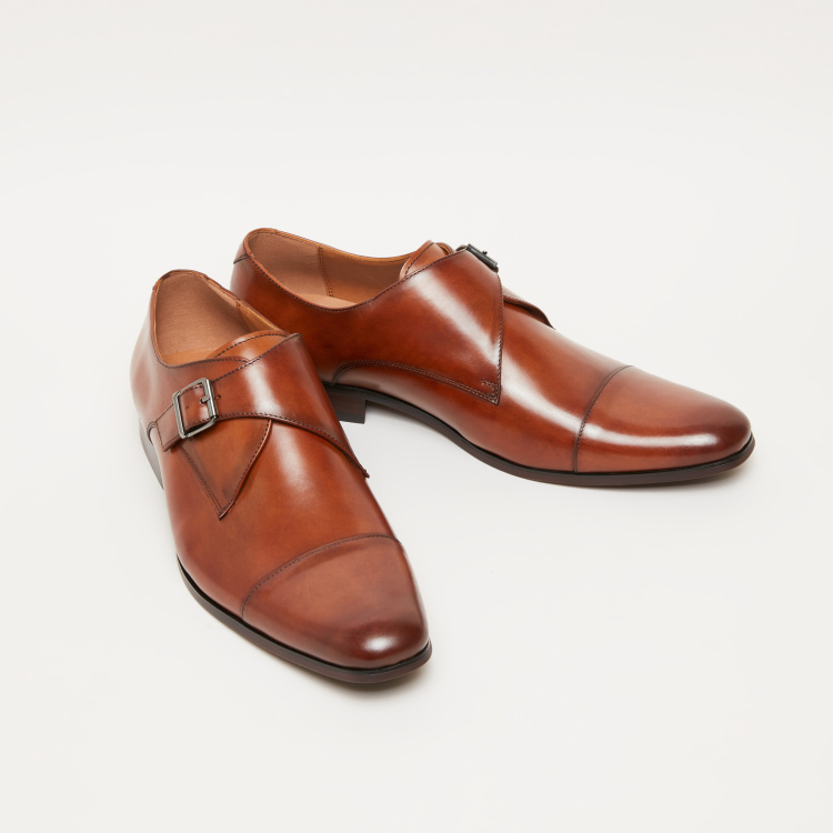 Stitch Detail Monk Strap Shoes with Pin Buckle Closure
