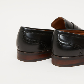 Stitch and Cutout Detail Slip-On Loafers