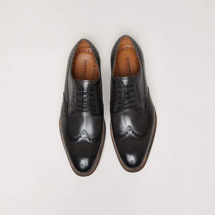 Lace-Up Brogue Shoes with Perforation Detail