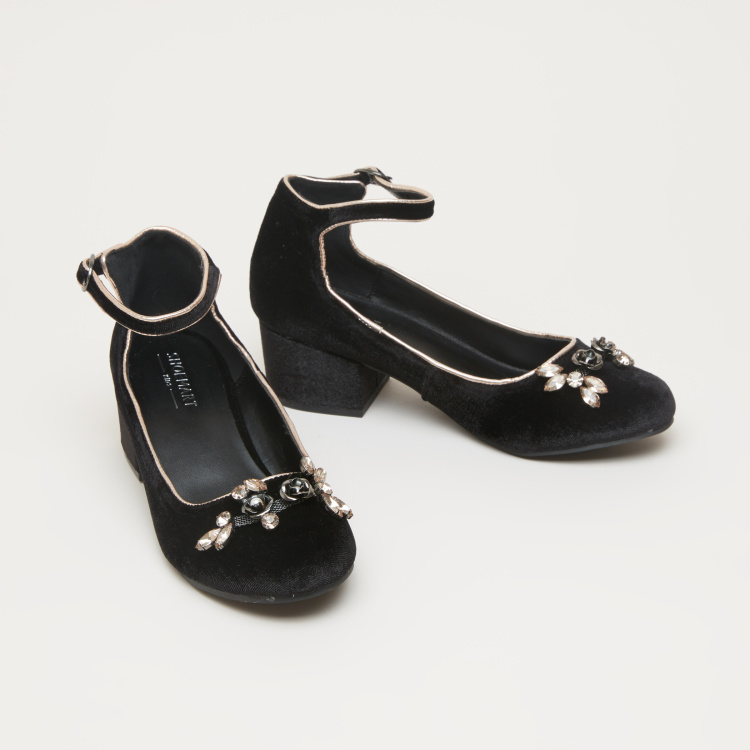 Embellished Vamp Shoes with Ankle Strap