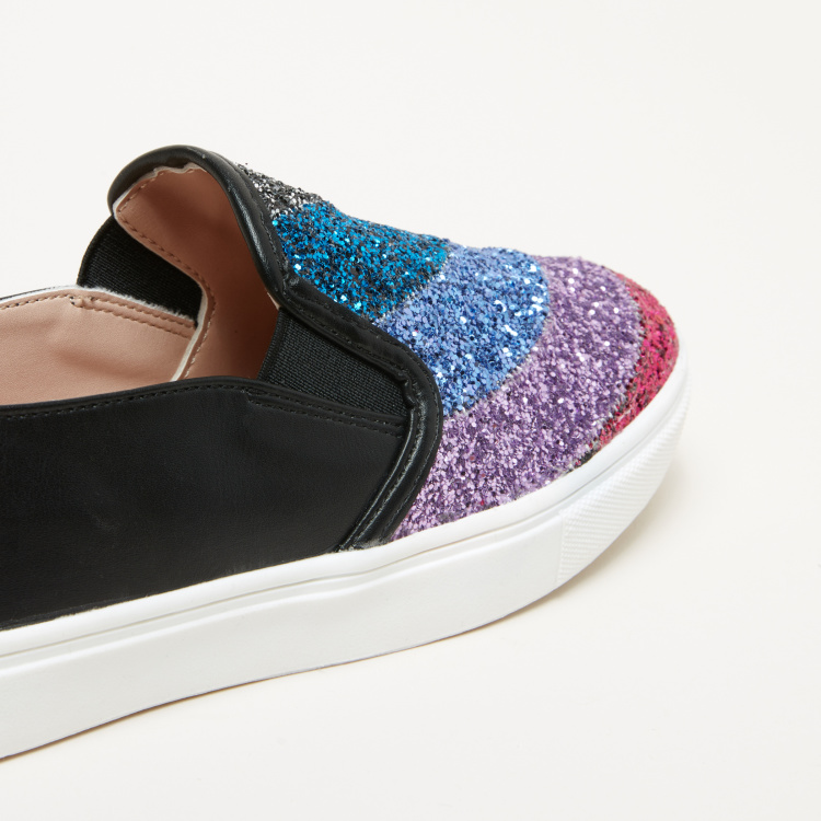 Little Missy Glitter Slip-On Shoes with Elasticised Gussets