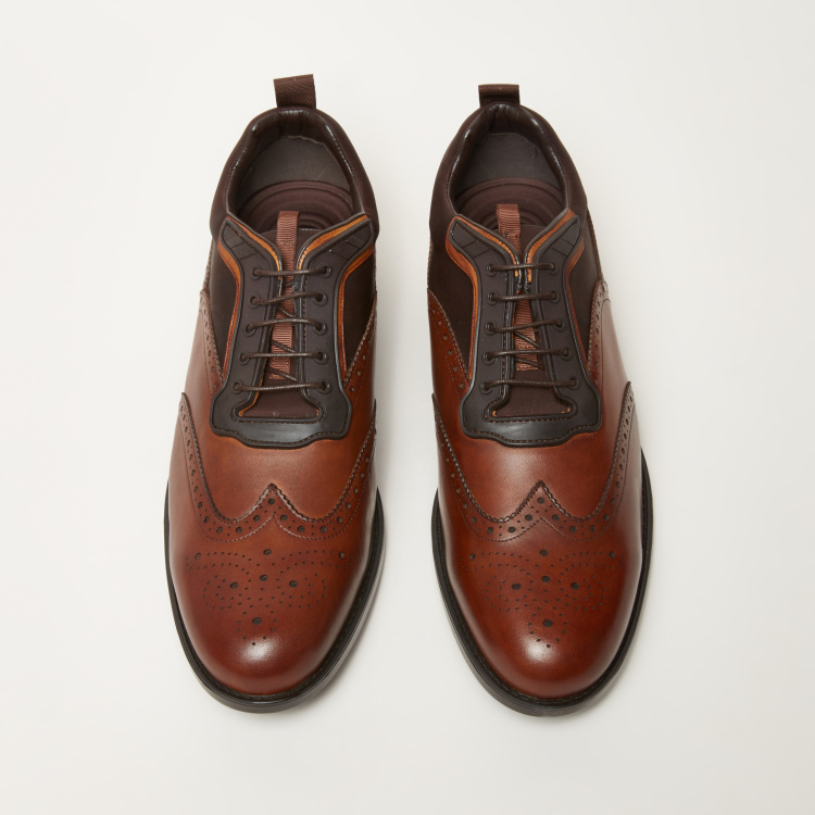 Lace-Up Brogue Oxford Shoes with Panel Detail