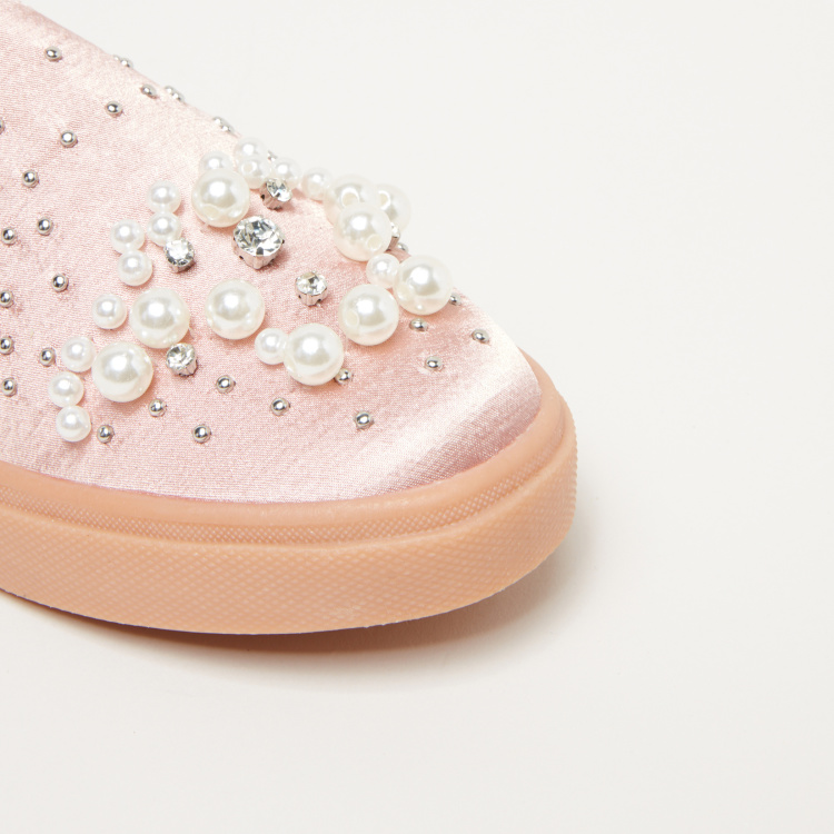Little Missy Embellished Slip-On Shoes with Elasticised Gussets