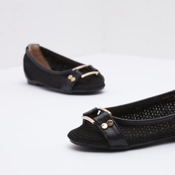 Textured Ballerinas with Metal Detail