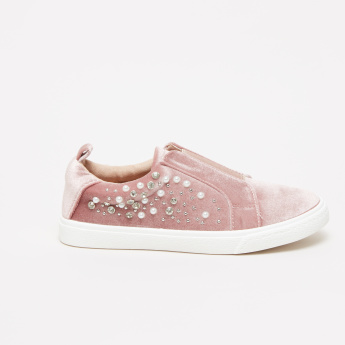 Embellished Slip-On Sneakers with Elasticised Gusset