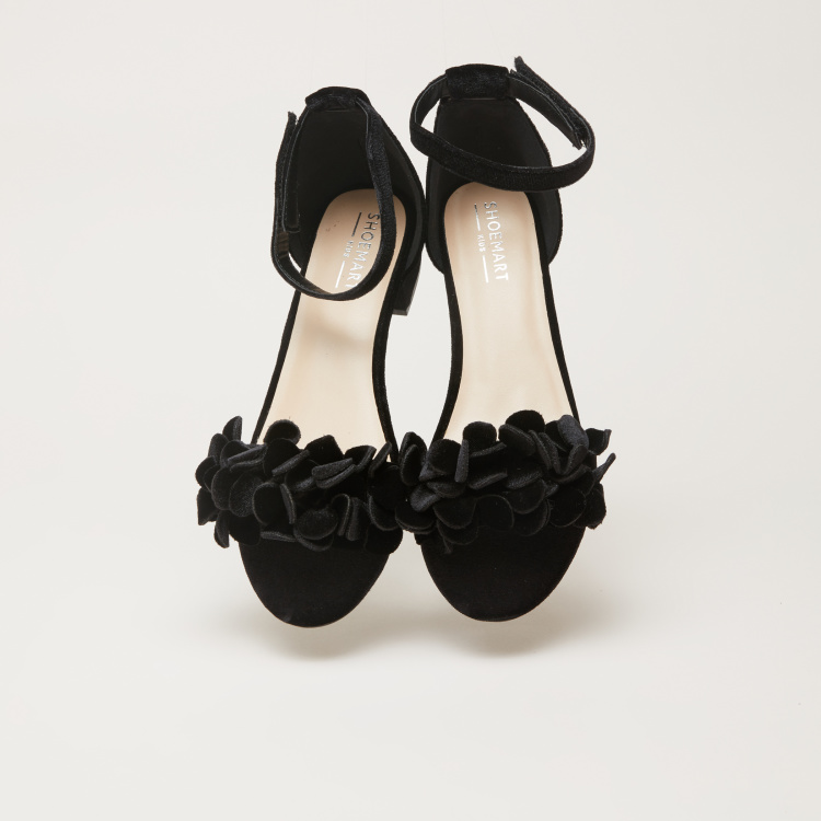 Floral Accent Shoes with Hook and Eye Closure