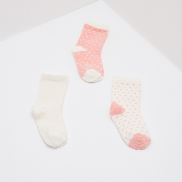 Polka Dot Printed Calf Length Socks - Set of 3