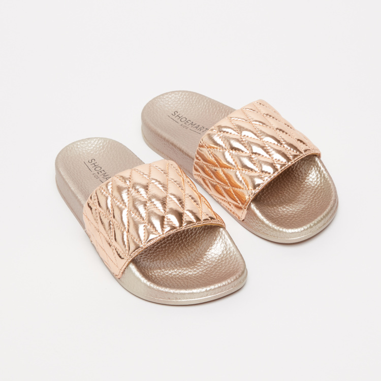 Textured Metallic Slides with Stitch Detail