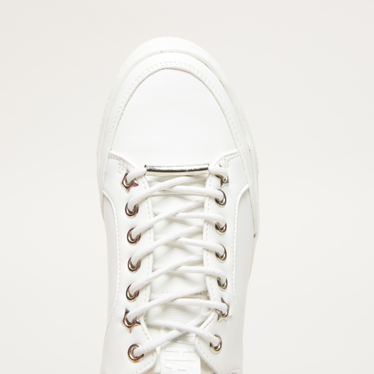Lace-Up Sneakers with Metallic Eyelets