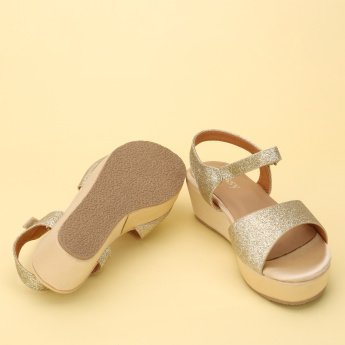 Little Missy Glitter Sandals with Hook and Loop Closure