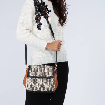 Celeste Chevron Embroidered Crossbody Bag with Adjustable Strap
