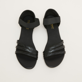 Textured Slip-On Sandals with Elasticised Ankle Strap