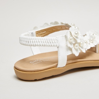 Flower Detail Sling Back Sandals with Elasticised Backstrap