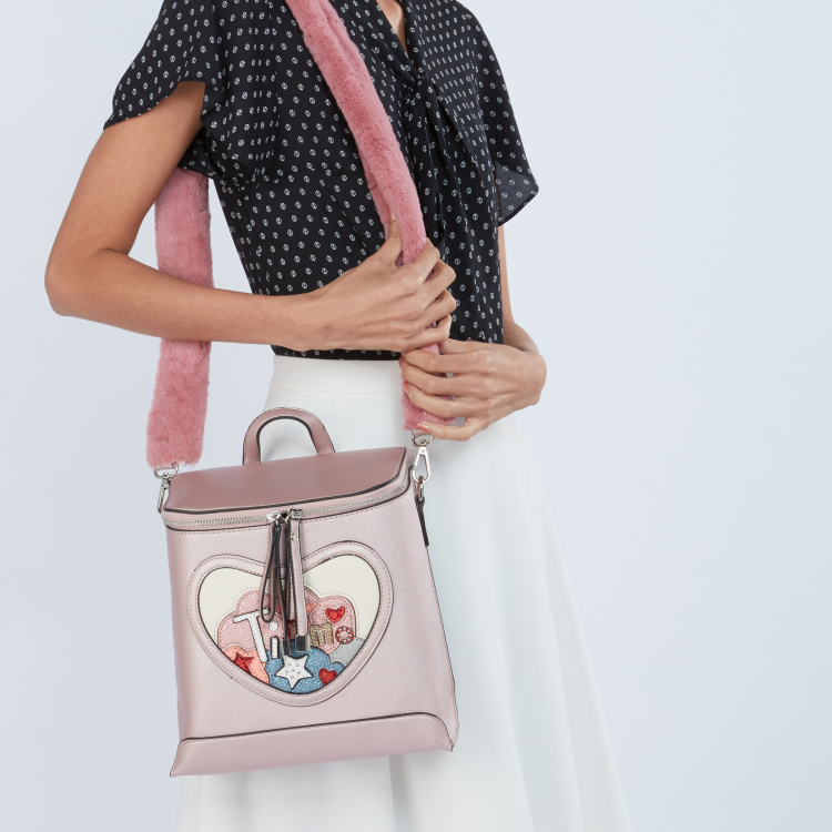 Missy Backpack with Patchwork and Plush Shoulder Strap