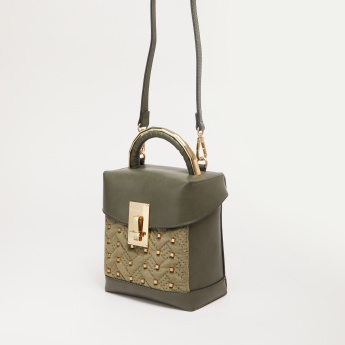 Elle Studded Crossbody Bag with Metallic Closure