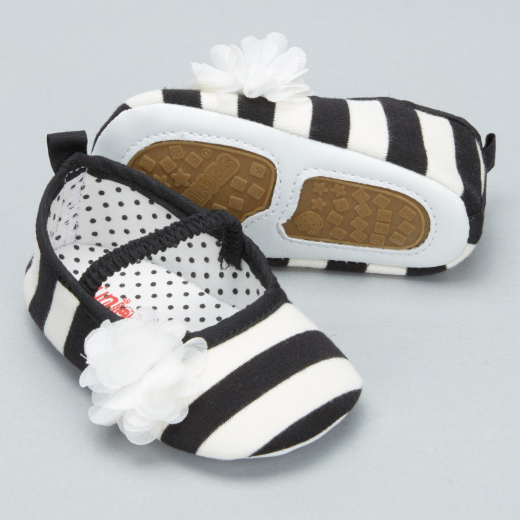 Juniors Striped Shoes with Flower Detail and Elasticised Band