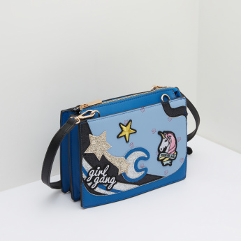 Missy Crossbody Bag with Patchwork and Zip Closure
