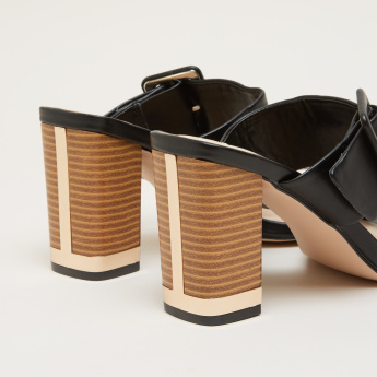 Dual Strap Slides with High Block Heels