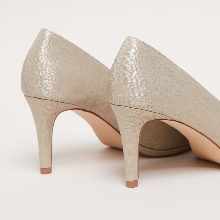Textured Peep Toe Pumps with Stiletto Heels